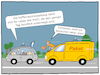 Cartoon: Logistik 4.0 (small) by CloudScience tagged logistik,mobilitaet,auto,paket,lieferung,kofferraum,selbstfahrendes,autonom,selbstfahrend,abholung,zustellung,paketdienst,lieferdienst,digitalisierung,intelligenz,intelligent,smart,ki,ai,kuenstlich,verkehr,mobil,paketbote,transport,transporter,ausliferung,post,dhl,paechcken,abholen,innovation,zukunft,disruption,kofferraumzustellung,cartoon,moeller,autos,technik,technologie,sicherheit,service,wirtschaft,automobilindustrie,industrie,autocartoon
