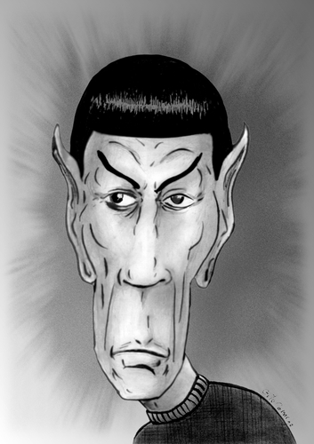 Cartoon: Mr. Spock (medium) by Guto Camargo tagged startrek,spock,minoy,movie,science,fiction,actor,caricature