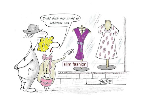 Cartoon: slim fashion (medium) by BuBE tagged mode,slim,fashion,schaufenster,einkauf,kleider,ehepaar