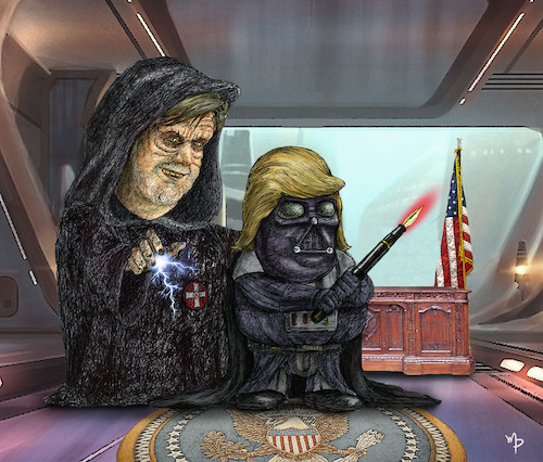 Cartoon: the empire strikes back (medium) by mparra tagged bannon,trump,starwars,empire,usa