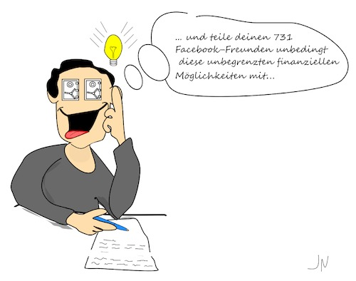 Cartoon: Safebook (medium) by Jochen N tagged facebook,zuckerberg,geschäftsidee,idee,betrug,masche,safe,sicher,brief,schreiben,anonym,kugelschreiber,glühbirne