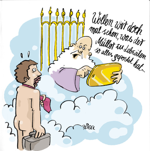 Cartoon: digitales Erbe (medium) by REIBEL tagged post,internet,tod,gott,himmelspforte,petrus,prüfung,nachrichten,digital,gedächtnis,wolken,nackt,koffer,sünden