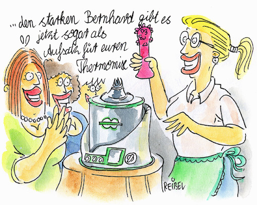 Cartoon: Thermomix (medium) by REIBEL tagged thermomix,vibrator,frauen,verkaufsveranstaltung,homeshopping,zubehör,hausfrau