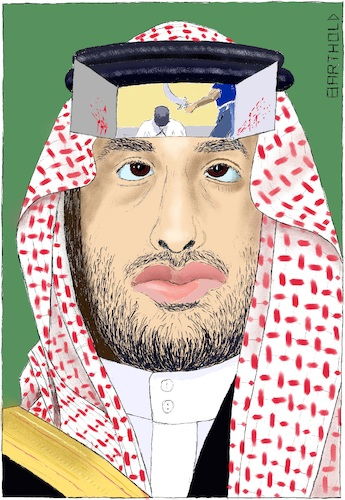 Cartoon: Behind the Face of Saudi Arabia (medium) by Barthold tagged crown,prince,mohammed,bin,salman,saui,arabia,jamal,khashoggi,journalist,murder,consulate,istanbul,crime,beheading,execution,middle,age,shariah,islamic,law,face,portrait,headscarf,keffiyeh,human,rights,violation