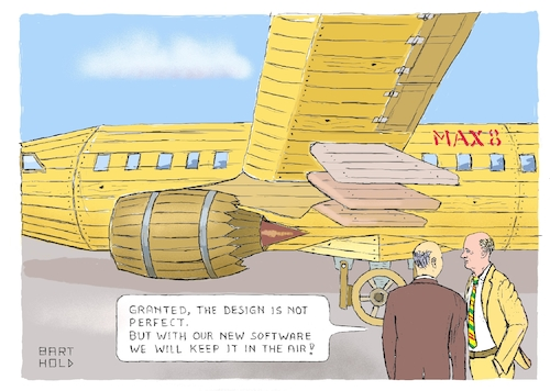 Cartoon: Boeing - the Art of Engineering (medium) by Barthold tagged boeing,737,max,plane,crash,mcas,maneuvering,characteristics,augmentation,system,timber,reliability,inherent,safety