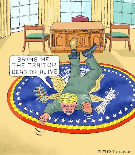 Cartoon: Calmness Indicates Superiority (medium) by Barthold tagged donald,trump,president,ukraine,affair,biden,zelensky,whistleblower,cia,threat,treatening,revilement,leak,white,house,staff,traitor,treason,oval,office,carpet,furor