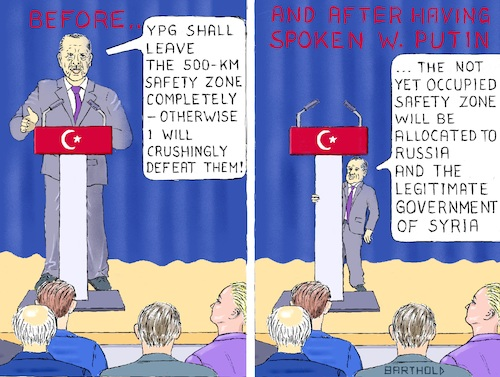 Cartoon: Sochi Putin smarter than Trump (medium) by Barthold tagged meeting,erdogan,putin,sochi,october,23,2019,distribution,power,detriment,kurds,future,rojava,endangered,north,syria,turkish,invasion,ceasefire,cease,fire