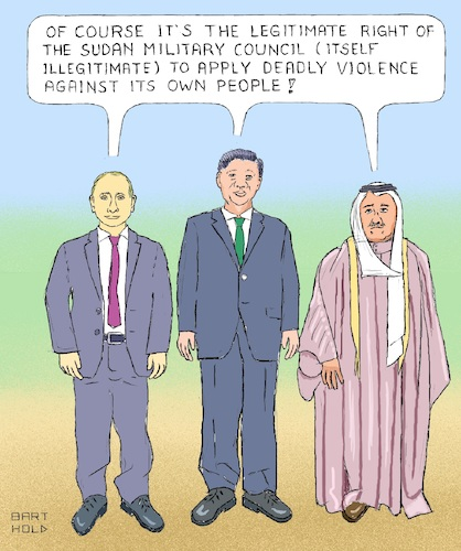 Cartoon: Sudan - Veto on UN Resolution (medium) by Barthold tagged national,uprising,sudan,military,council,abdel,fattah,al,burhan,wladimir,putin,xi,jinping,united,nations,security,veto,power,misusage,cynicism,human,rights,china,russia,kuwait
