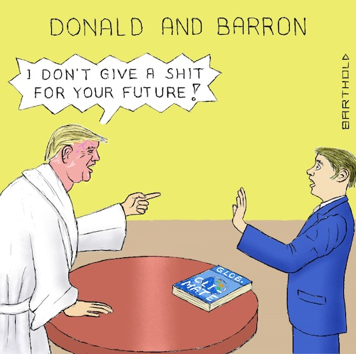 Cartoon: US Withdrawal f. Par. Cl. Treaty (medium) by Barthold tagged trump,donald,barron,global,klimate,report,un,paris,climate,treaty,agreement,withdrawal,formal,submission,white,bathrobe