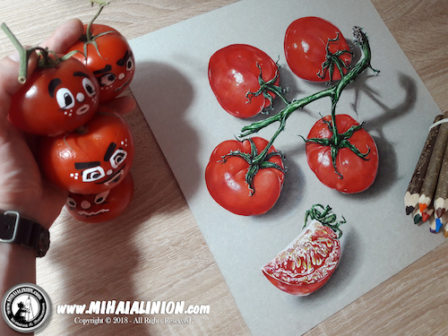 Cartoon: Drawing Tomatoes - 3D Art (medium) by Art by Mihai Alin Ion tagged drawing,illustration,painting,mihaialinion,3dart,tomatoes,vegetables,funny,realisticart,pencildrawing