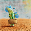 Cartoon: Water (small) by Orhan ATES tagged water,life,without,earth,planet,future,danger,nature,animals,human,humanity,drought