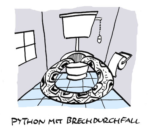 Cartoon: Schlingung (medium) by Bregenwurst tagged python,brechdurchfall,infekt,virus,magen,darm