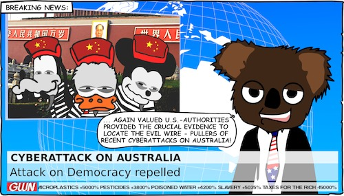 Cartoon: Cyber Attack on Australian Gov (medium) by Cory Spencer tagged cyberwar,hacker,hacking,hackerattack,cyberattack,democracy,australia,government