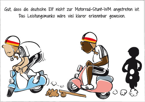 Cartoon: Deutsche Elf im Motorsport (medium) by GOMIX tagged fussball,wm,auftakt,elf,schlecht