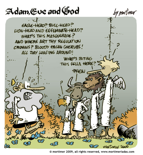 Cartoon: adam eve and god 33 (medium) by mortimer tagged english,adam,eve,god,cartoon,comic,gag,mortimer,mortimeriadas,biblical,christian,original,sin,expulsion,paradise,eden,snake,illustration,adam,eva,religion,entstehung,gott,bibel,comic