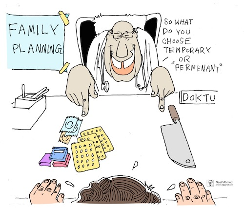 Cartoon: Family planning (medium) by Nasif Ahmed tagged contraception,familyplanning,childbirth,unexpectedchildbirth