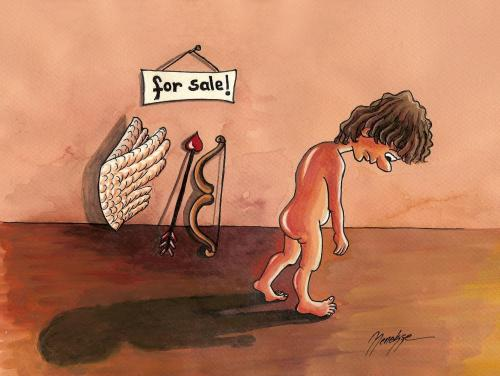 Cartoon: for sale! (medium) by menekse cam tagged love,eros,sale,wing,arrow,spring,crisis