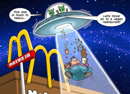 Cartoon: Kidnapped (medium) by C Berger tagged obese,obesity,fat,kid,mcdonalds,fast,food,aliens,outer,space,ufo,obese,obesity,fat,kid,mcdonalds,fast,food,aliens,outer,space,ufo