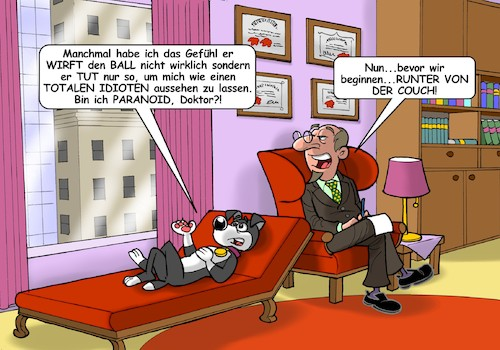 Cartoon: Therapiehund (medium) by C Berger tagged hund,psychologe,psychiater,couch,hund,psychologe,psychiater,couch
