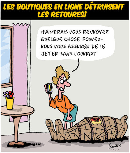 Cartoon: Retours (medium) by Karsten tagged business,shopping,internet,transport,colis,mariage,hommes,femmes,business,shopping,internet,transport,colis,mariage,hommes,femmes