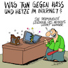 Cartoon: Hass! (small) by Karsten tagged internet,facebook,computer,hassreden,hetze,fake,news,kriminalität,technik,gesellschaft