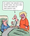 Cartoon: Risky Surgery (small) by Karsten tagged health,medical,doctors,patients,marriage,relationships,men,women,professions,love