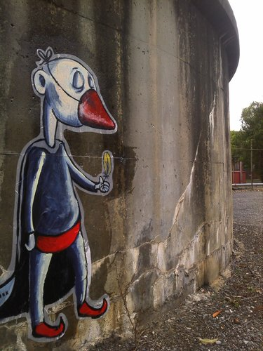 Cartoon: I cant fly like the others (medium) by urbanmonk tagged paste,wheat,art,street,graffitti,ups,australia,melbourne,loneliness,isolation