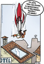 Cartoon: dachgeschoss (small) by Steffen Gumpert tagged hotel,parachute,mobile,sport,fallschirm,unfall,accident