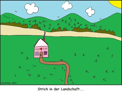 Cartoon: Strich in der Landschaft (medium) by Amokkritzler tagged strich,prostitution,spruch,landschaft,redewendung