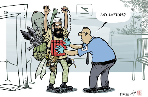 Cartoon: Airparanoia (medium) by rodrigo tagged airport,security,terror,isis,terrorism,laptop,computer,electronic,devices,ban,airplane,attack,politics,international
