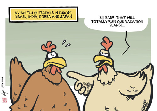 Cartoon: Avian flu upset (medium) by rodrigo tagged bird,flu,avian,influenza,chicken,h5n8,h5n9,h7n9