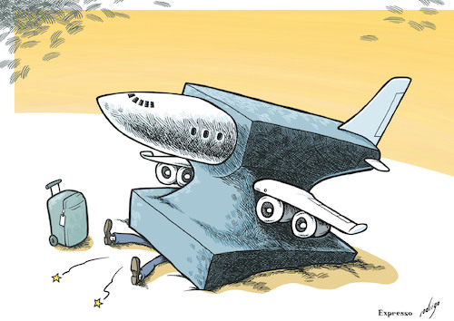 Cartoon: Heavily stranded (medium) by rodrigo tagged flight,cancelations,delays,air,carrier,passengers,airplane,airport,bad,weather,strike,logistics,transport
