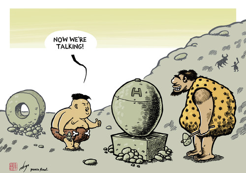 Cartoon: Koreolithic (medium) by rodrigo tagged north,korea,kim,jong,un,hbomb,hydrogen,bomb,nuclear,war,warfare,weapon