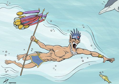 Cartoon: Olymphelps (medium) by rodrigo tagged olympic,games,swimming,world,record,michael,phelps,usa,gold,medal