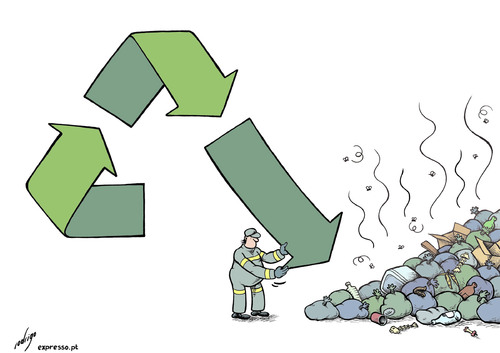 Cartoon: Recycling bluff (medium) by rodrigo tagged recycling,garbage,litter,trash,collecting,incineration,landfill