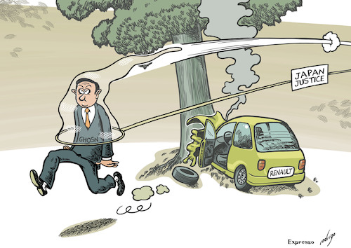 Cartoon: Renaultkiri (medium) by rodrigo tagged renault,nissan,mitsubishi,auto,tax,fraud,japan,carlos,ghosn