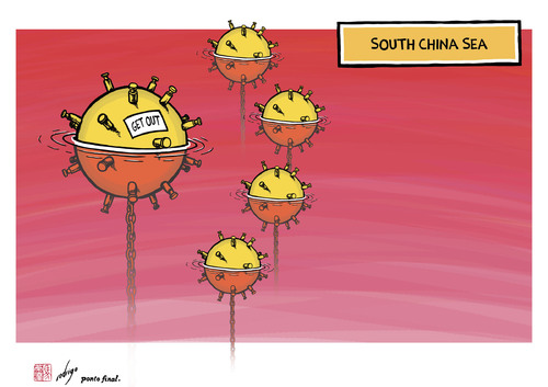 Cartoon: Territorial claims of China (medium) by rodrigo tagged south,territorial,sea,china,japan,asia,claims,mines,philippines