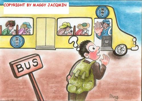 Cartoon: MP3-bus (medium) by Mag tagged culture,media,business,protest,youth,education,philosophy