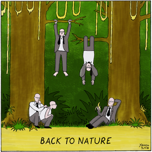 Cartoon: Back To Nature (medium) by Yavou tagged back,to,nature,jungle,cartoon,yavou,living,free,freedom,back,to,nature,jungle,cartoon,yavou,living,free,freedom