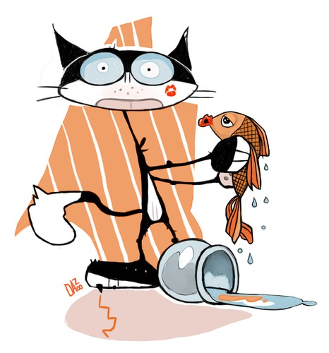 Cartoon: romeo and juliet (medium) by dan8 tagged cat,fish,gatto,pesce,love,amore