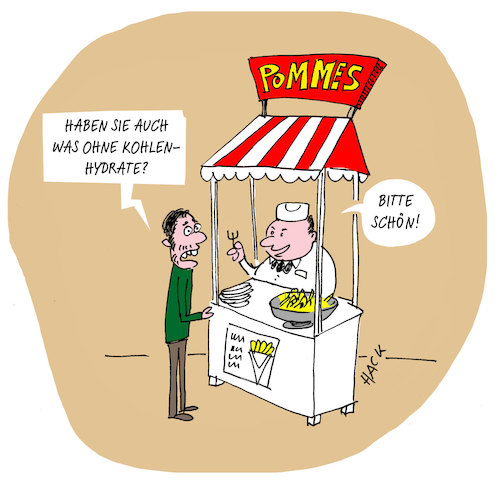 Cartoon: Pommesbude (medium) by ichglaubeshackt tagged pommes,kohlenhydrate,lowcarb,fastfood,diät,essen