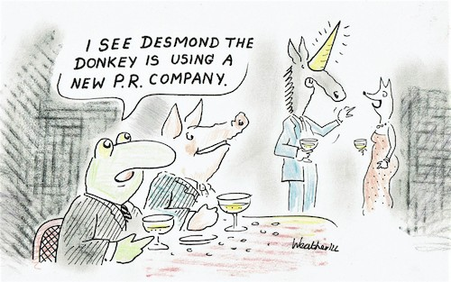 Cartoon: New PR company (medium) by SteveWeatherill tagged pr,unicorns