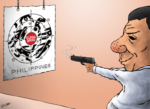 Cartoon: Failure of Philippine Drug War (medium) by cartoonistzach tagged philippines,duterte,drugs,extrajudicial,killing,violence,war,target,shooting,philippines,duterte,drugs,extrajudicial,killing,violence,war,target,shooting