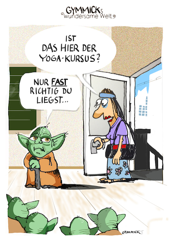 Cartoon: Yoga Kurs (medium) by GYMMICK tagged yoga,yoda,gymmick,cartoon,starwars