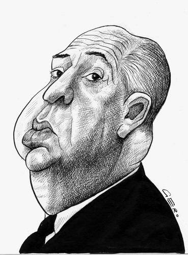 Cartoon: Alfred Hitschcock (medium) by Gero tagged caricature