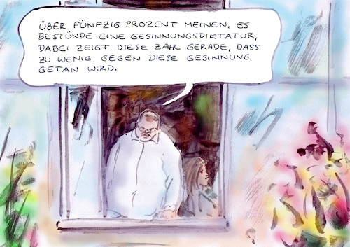 Cartoon: Keine Gesinnungsdiktatur (medium) by Bernd Zeller tagged studie