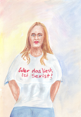 Cartoon: Klare Ansage (medium) by Bernd Zeller tagged slogan