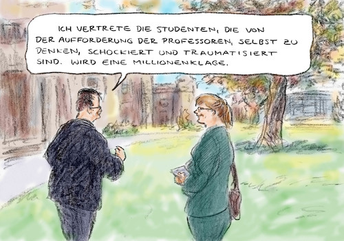 Cartoon: Offener Brief an Studenten (medium) by Bernd Zeller tagged uni