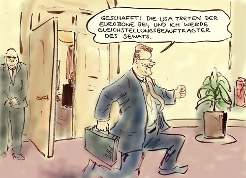 Cartoon: USA-Pleite (medium) by Bernd Zeller tagged eurozone,usa,shutdown,westerwelle,fdp