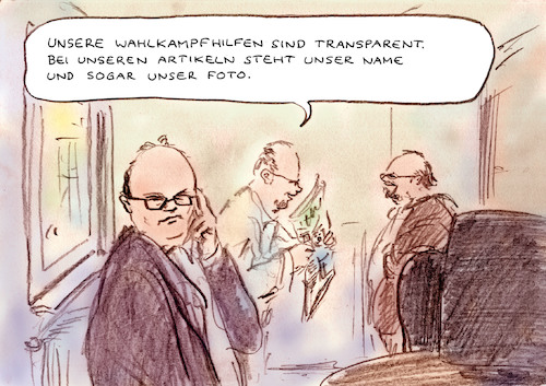 Cartoon: Wahlkampfhilfen (medium) by Bernd Zeller tagged journalisten